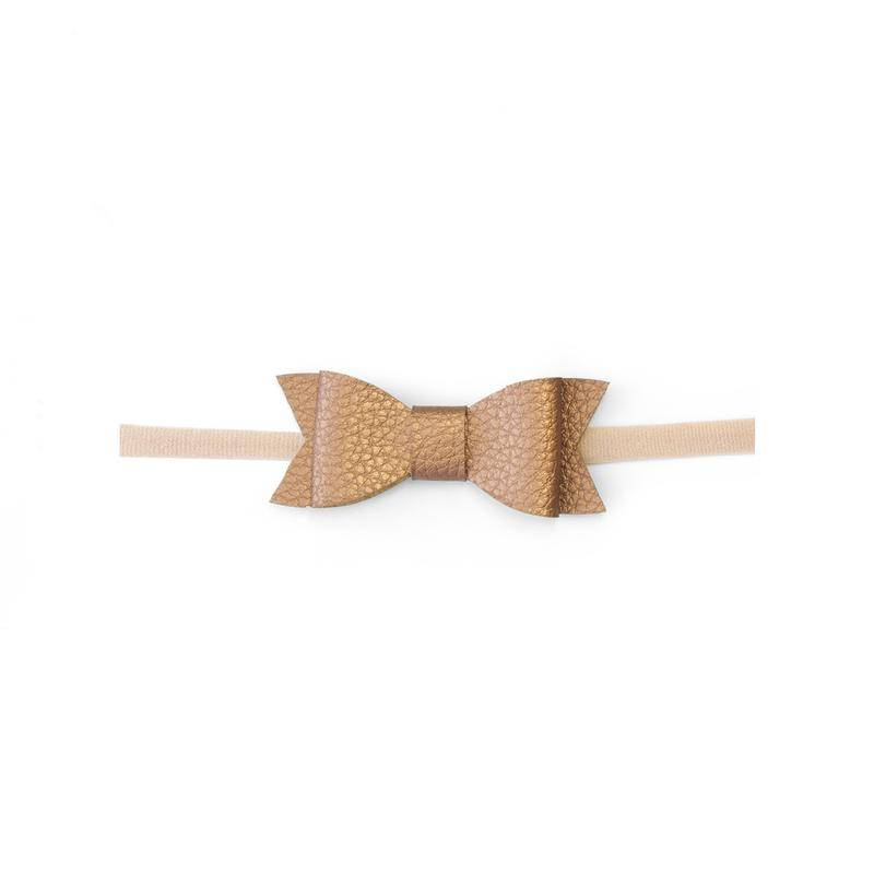 Baby Bling Bows Leather Bow Tie Skinny - Copper