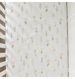 Saranoni Floral Fields Cotton Muslin Crib Sheet