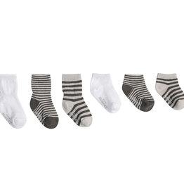 Robeez 6 Pk Socks, Grey Essentials