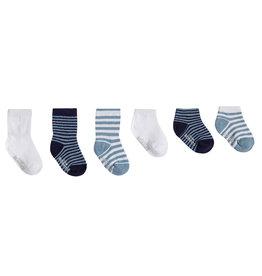 Robeez 6 Pk Socks, Blue Essentials