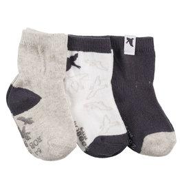Robeez 3 Pk Socks Little Birdie - Dark Grey