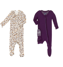 Angel Dear Zipper Footies Set Angel Dear Leopard & Kickee Pants Wine Grapes