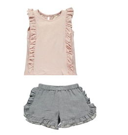 Vignette Pippin Tank Rose + Cecily Shorts Navy