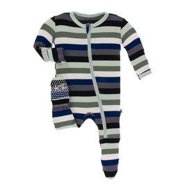 Kickee Pants Print Footie with Zipper, Zoology Stripe