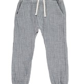 Me + Henry Cotton Tie-Cord Pants, Blue