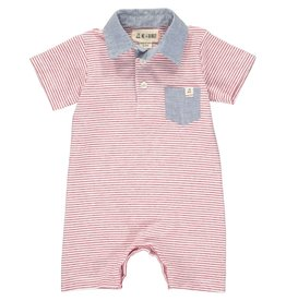 Me + Henry Red Stripe Polo Short Romper (426a)