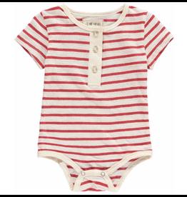 Me + Henry Red Stripe Short Sleeve Henley Bodysuit
