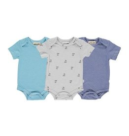 Me + Henry Triple Pack SS Onesie Blue/Aqua Micro Stripe/Gray Dog 3 Pack