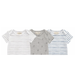 Me + Henry Triple Pack SS Onesie Hand Paint Blue//Gray/ Dog 3 Pack