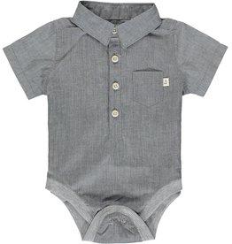 Me + Henry Woven Bodysuit, Pale Grey 3-6M