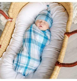 Little Sleepies Bamboo Swaddle & Knotted Hat Gift Set Blueberry Plaid