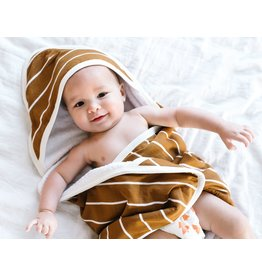 Copper Pearl Knit Hooded Towel - Camel