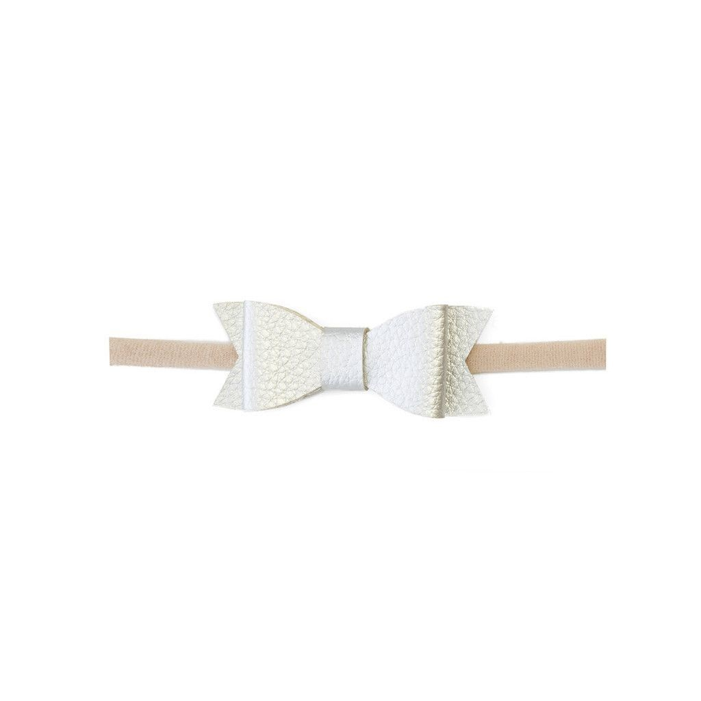 Baby Bling Bows Leather Bow Tie Skinny - White