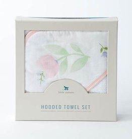 Little Unicorn Cotton Hooded Towel Set, Pink Peony