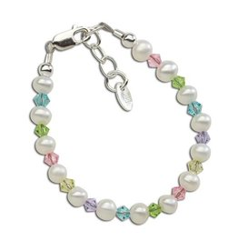 Cherished Moments Daniela - Sterling Silver Pearl Bracelet w/multi crystals MED