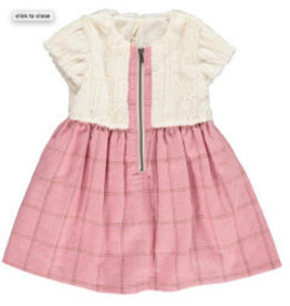 Vignette Faye Fur Top Dress Rose 4T