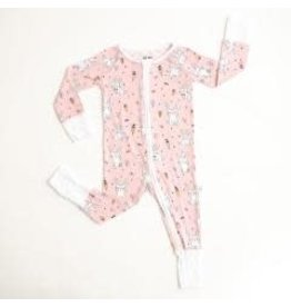 Little Sleepies Convertible Romper/Sleeper Pink Bunnies 3-6M