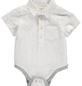 Me + Henry Woven Bodysuit, White Micro Spot