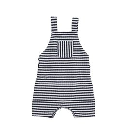 Me + Henry Navy Striped Shortie Overall (106b)