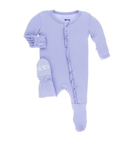 Kickee Pants Solid Classic Ruffle Footie with Zipper Lilac 3-6M