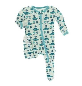 Kickee Pants Print Footie with Zipper, Aloe Aliens with Flying Saucers 6-9M