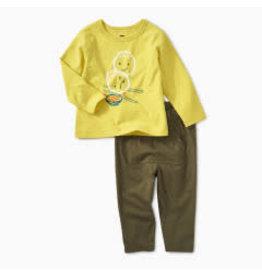 Tea Collection Baby Boy Dumpling Faces Kanga Pant Set 12-18M