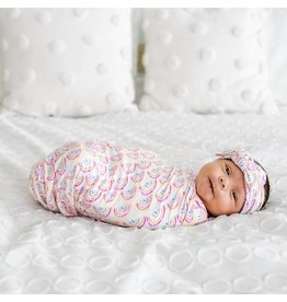 Little Sleepies Bamboo Swaddle & Knotted Hat Gift Set Pastel Rainbows