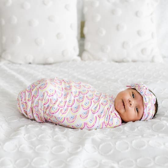 Little Sleepies Pastel Rainbows Bamboo Swaddle & Knotted Hat Gift Set