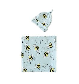 Little Sleepies Bamboo Swaddle & Knotted Hat Gift Set Bees