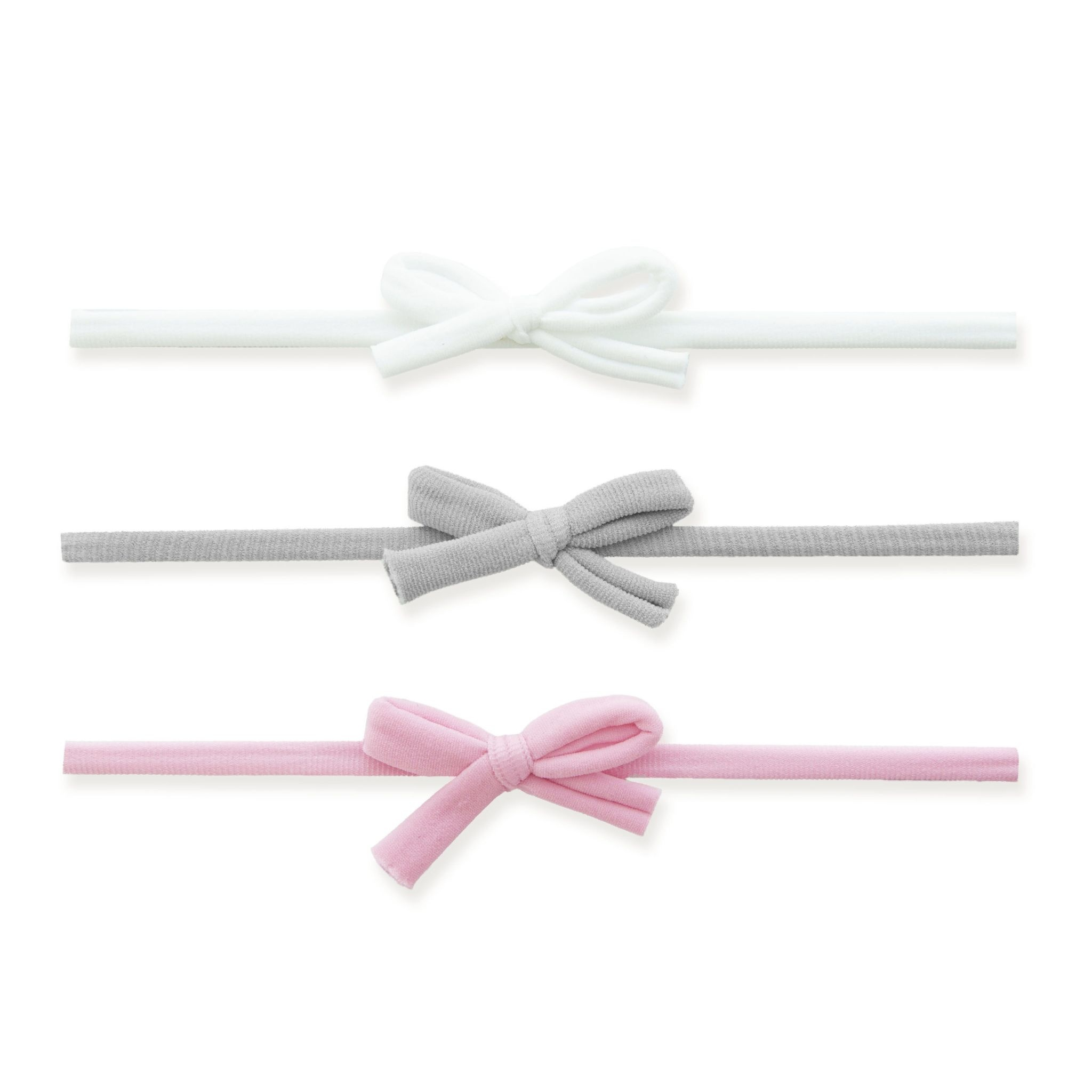 Baby Bling Bows 3pk Natural Skinnies - pink, gray, white