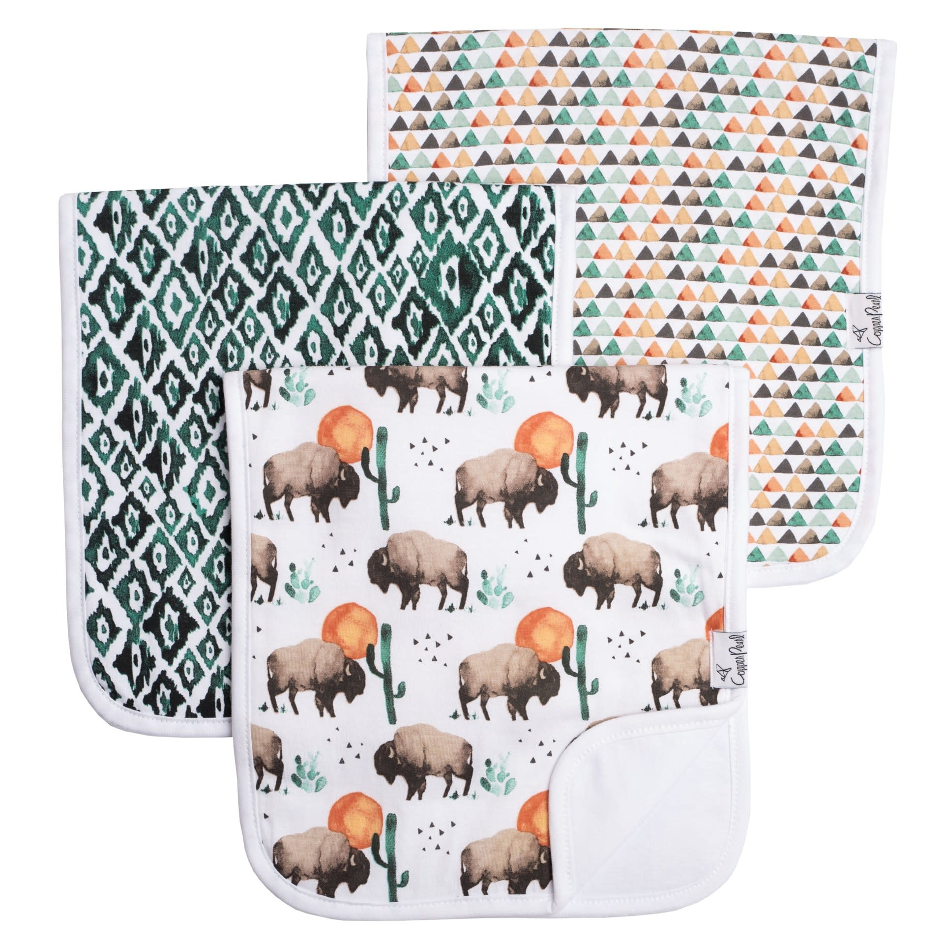 Copper Pearl Burp Cloths (3 pack) - Bison