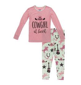 Kickee Pants Pistachio Cowboy Long Sleeve Pajama Set