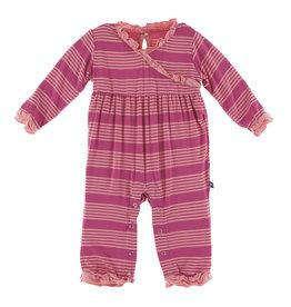 Kickee Pants Kimono Ruffle Romper Calypso Agriculture Stripe