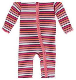 Kickee Pants Print Classic Ruffle Coverall with Zipper, Botany Red Ginger Stripe 18-24M