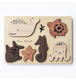 Wee Gallery Wooden Tray Puzzle - Ocean Animals