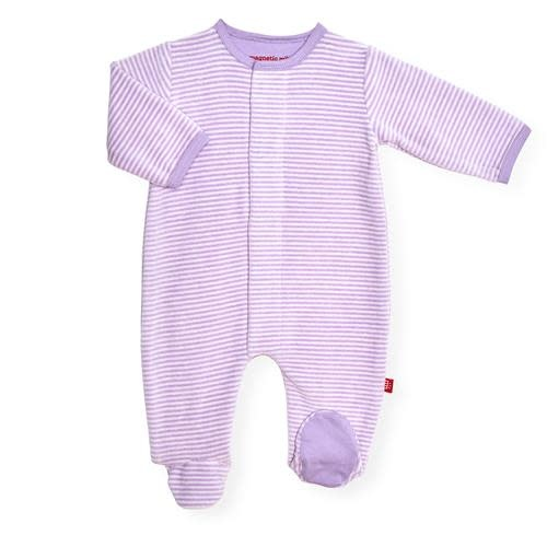 Magnetic Me Orchid Cream Stripe Velour Magnetic Footie
