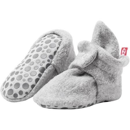 Zutano Cozie Fleece Gripper Bootie - Heather Gray