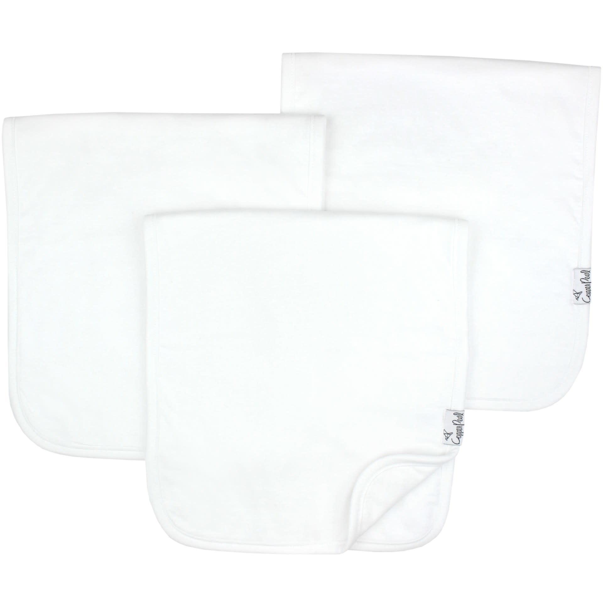 Copper Pearl Burp Cloths (3 pack) - White