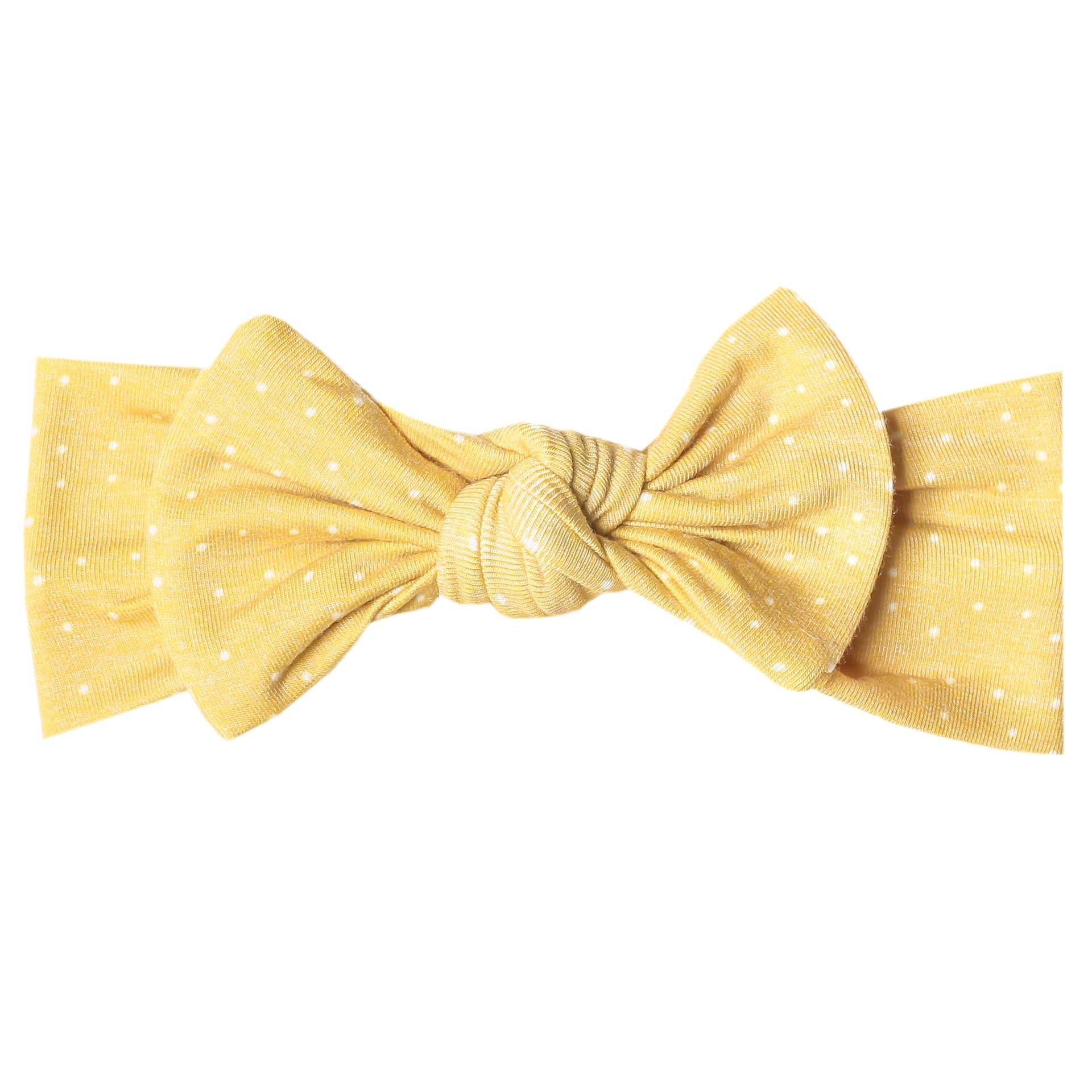 Copper Pearl Knit Headband - Marigold Yellow