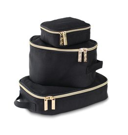 Itzy Ritzy Packing Cubes (Pack of 3) - Black and Gold