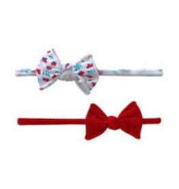 Baby Bling Bows 2Pk Mini Print Skinny: Carnation Red