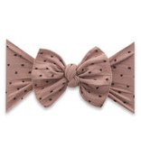 Baby Bling Bows Patterned Shabby Knot - Putty w/Black Dots