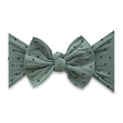 Baby Bling Bows Patterned Shabby Knot - Fern w/Black Dots
