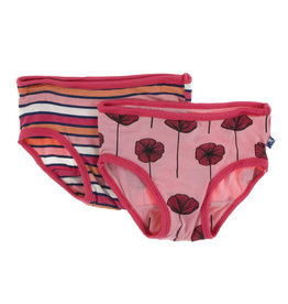 Kickee Pants Print Girl Underwear Set, Botany Red Ginger Stripe and Strawberry Poppies 3T-4T