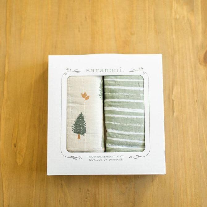 Saranoni Pine Cotton Muslin 2-pack Swaddles