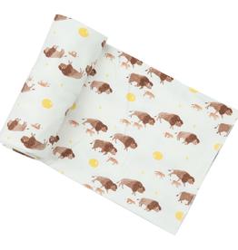 Angel Dear Bison Buffalo Gold Swaddle Blanket 45X45