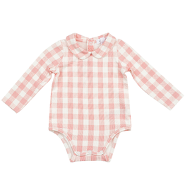 Angel Dear Peter Pan Collar Bodysuit, Gingham Pink