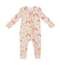 Angel Dear Rainbows Ruffle Front Zipper Footie Pink Newborn