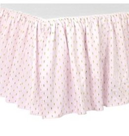 Just Born Sparkle Seersucker Crib Skirt - Ruffled Style - Pink