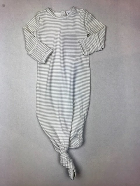Knotted Gown, Grey Stripe 0-3M